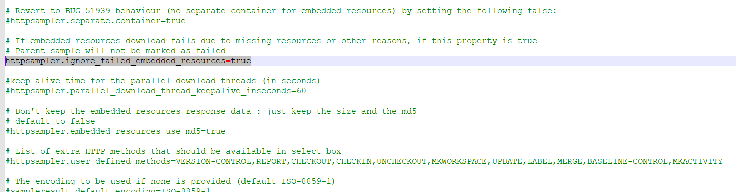 """Ignore """"Embedded Resouces"""" as error in JMeter 